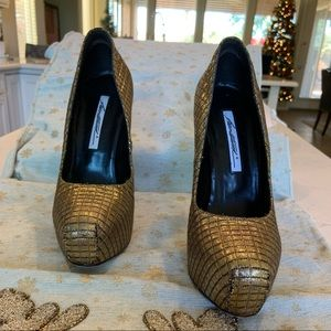 Brian Atwood Gold Quilted Platform Pumps